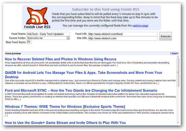Foxish RSS Adds Firefox Live Bookmarks Experience to Chrome