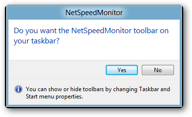 in the taskbar-net speed monitor
