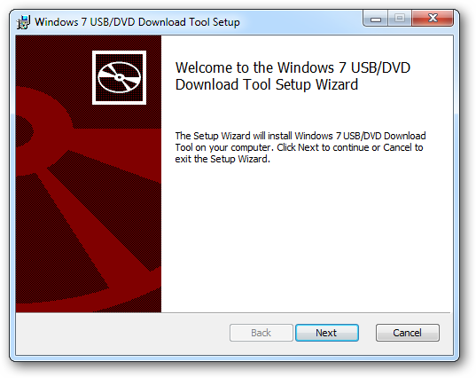 Windows 7 USB/DVD Download Tool Setup