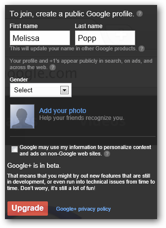 Creating new Google+ profile