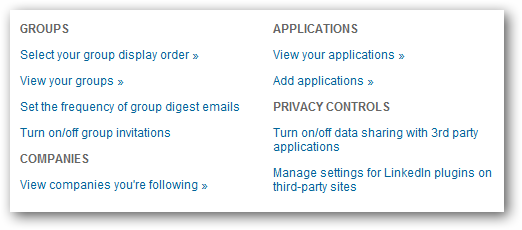 Settings - Groups, Companies & Applications