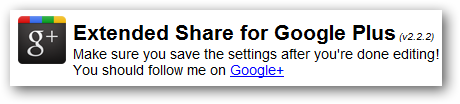 Extended Share for Google+ configuration page