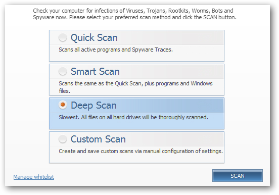(5) scan options