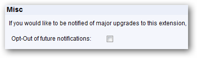 Notification of updates opt-out