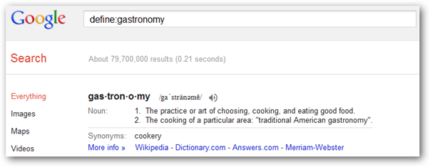 Definition of gastronomy on Google