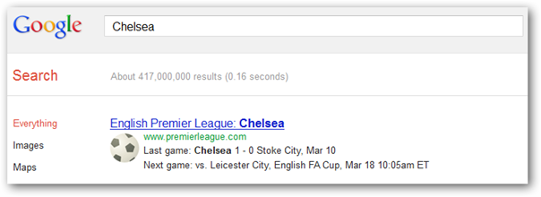 Find Chelsea games on Google