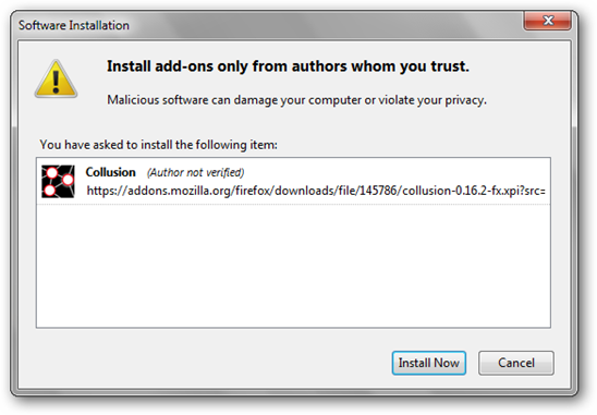 Install Now Window for Collusion add-on