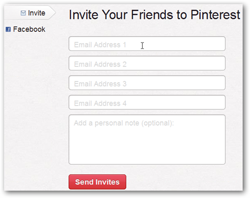 Email Spaces for Inviting friends to pinterest
