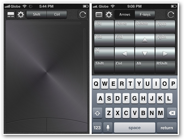 Screenshots of Splashtop Touchpad for iPhone Trackpad and Keyboard