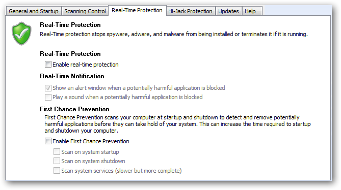 Preferences - Real-Time Protection