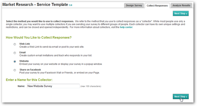 Survey Monkey Collect Responses page