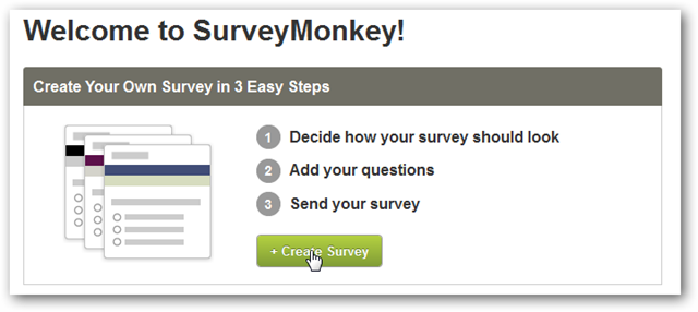 Survey Monkey Welcome Page