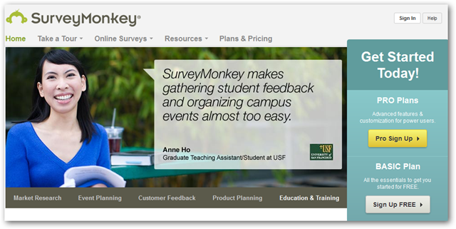 Home page of Survey Monkey