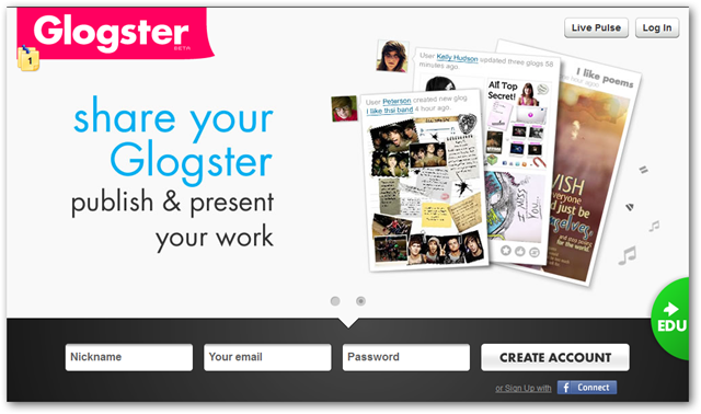 Glogster Homepage