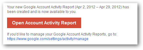 Google Account Activity report available