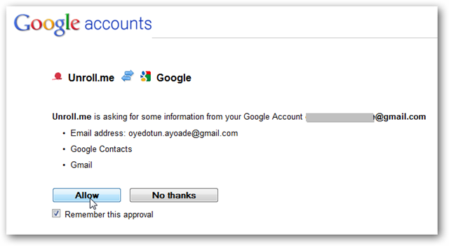 Unroll.me Seeks Access to Google Account
