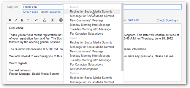 Canned Responses Feature of Gmail Labs