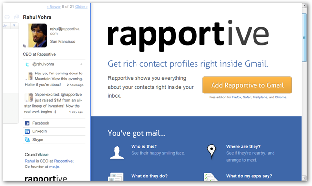 Rapportive Homepage