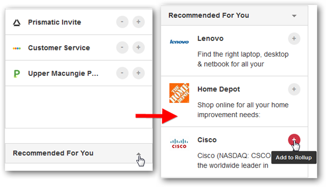 How to Add Recommended items on Unroll.me