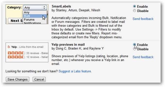 Select Labs on Settings Page