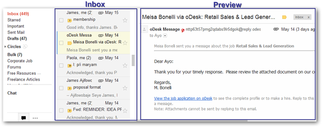 Preview Pane Feature of Gmail