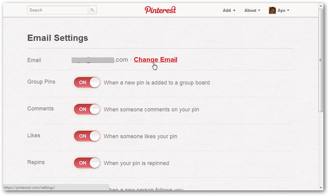 Pinterest Settings Page