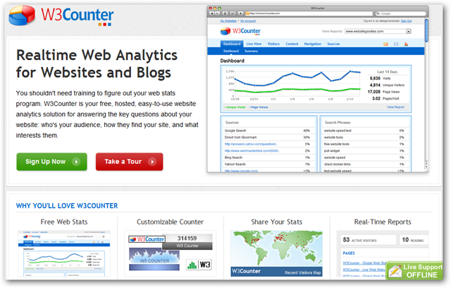 W3 Counter Homepage