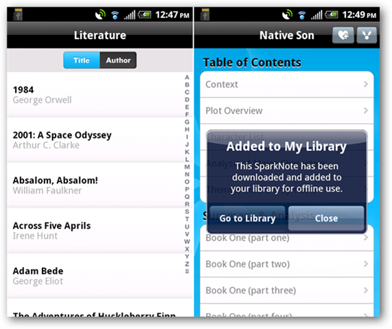 SparkNotes for Android Puts Hundreds of Books in Your Pocket