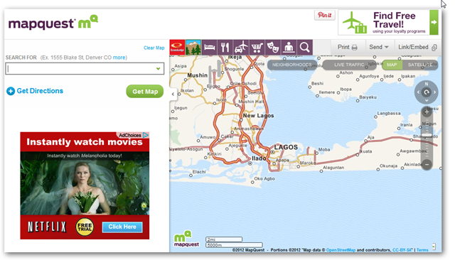 Image of MapQuest Homepage