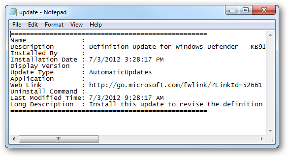 Text file with update information