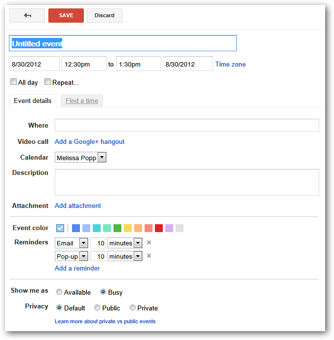 how to schedule a google hangout via google calendar