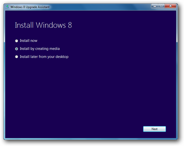 Install Windows 8 by Creating Media