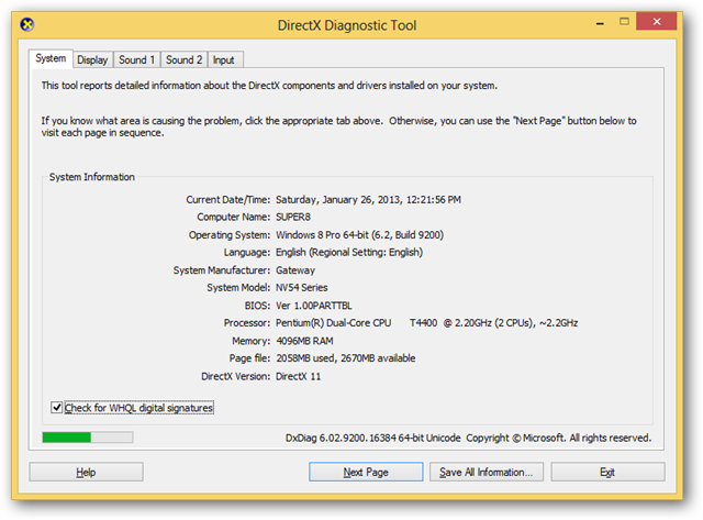 Use This Diagnostic Text to Check on DirectX in Windows 8